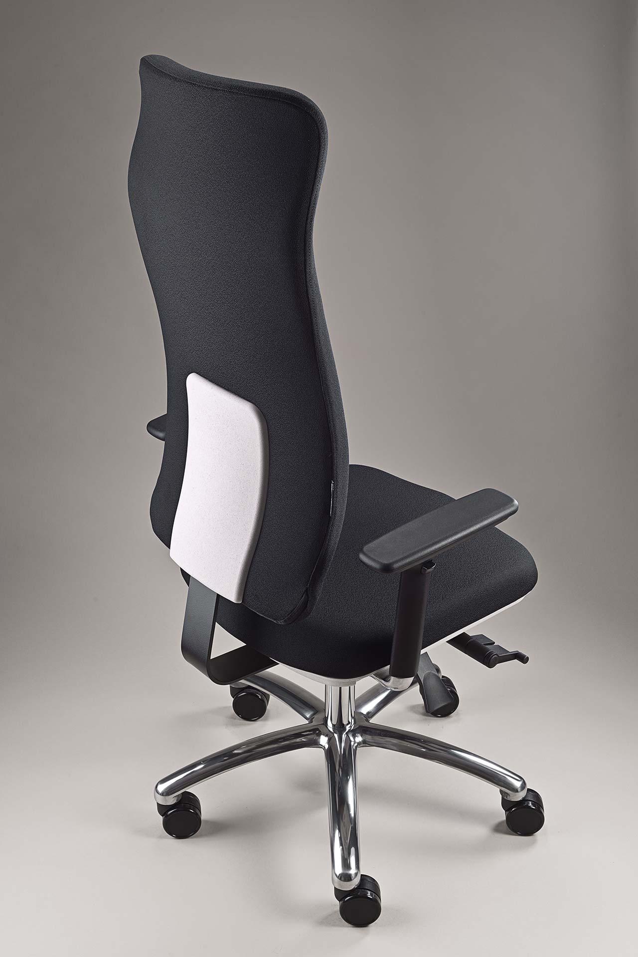 gesund arbeiten gmbh - Bürodrehstuhl motion.plus mit Stoff Xtreme und weiße Abdeckung Rückenlehne