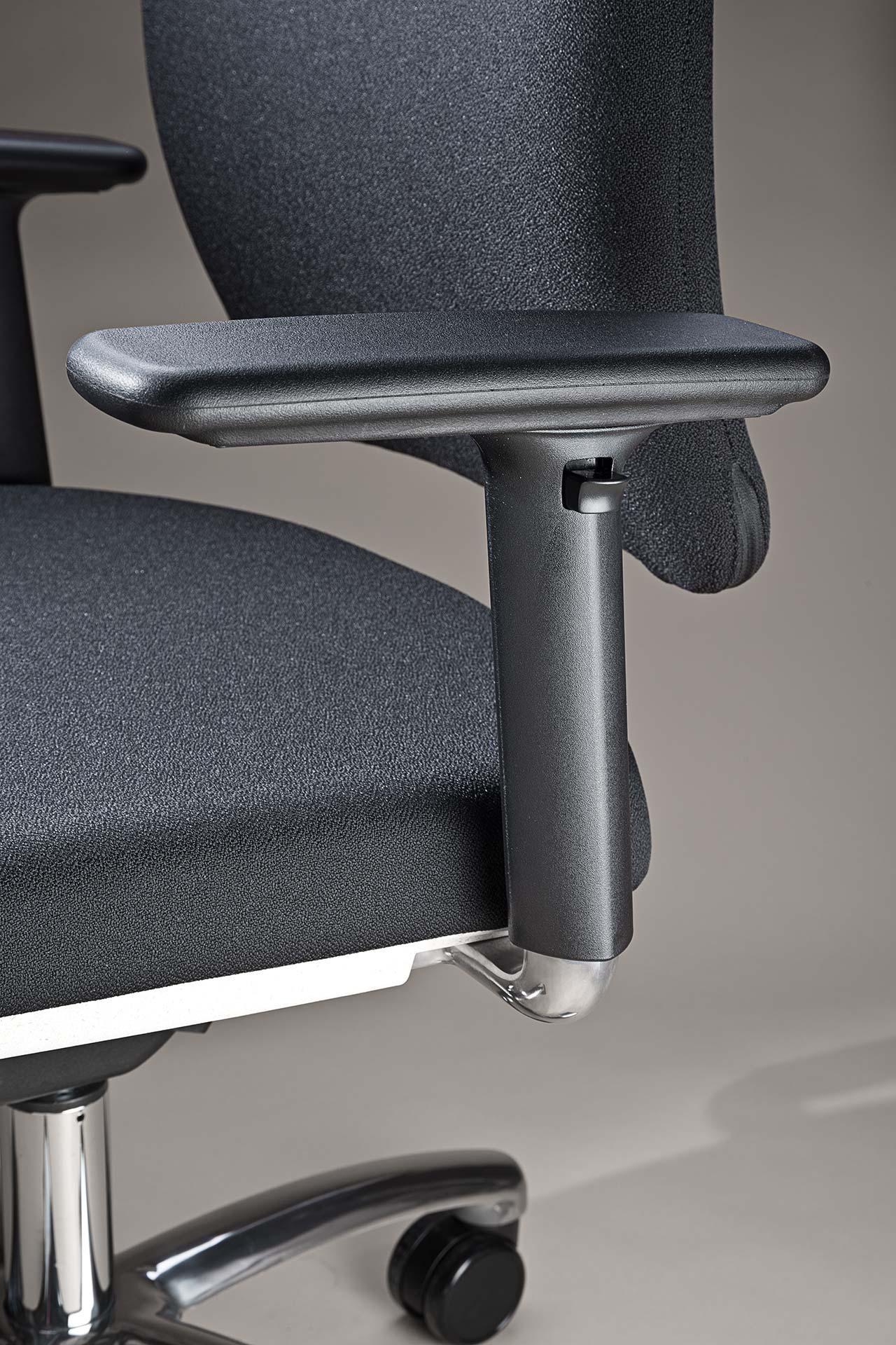 gesund arbeiten gmbh - Bürodrehstuhl motion.plus mit höhenverstellbare Armlehnen mit Aluminium-Träger